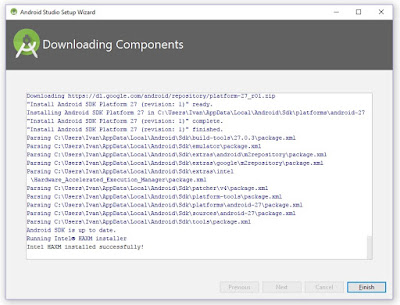 Downloading components Android studio