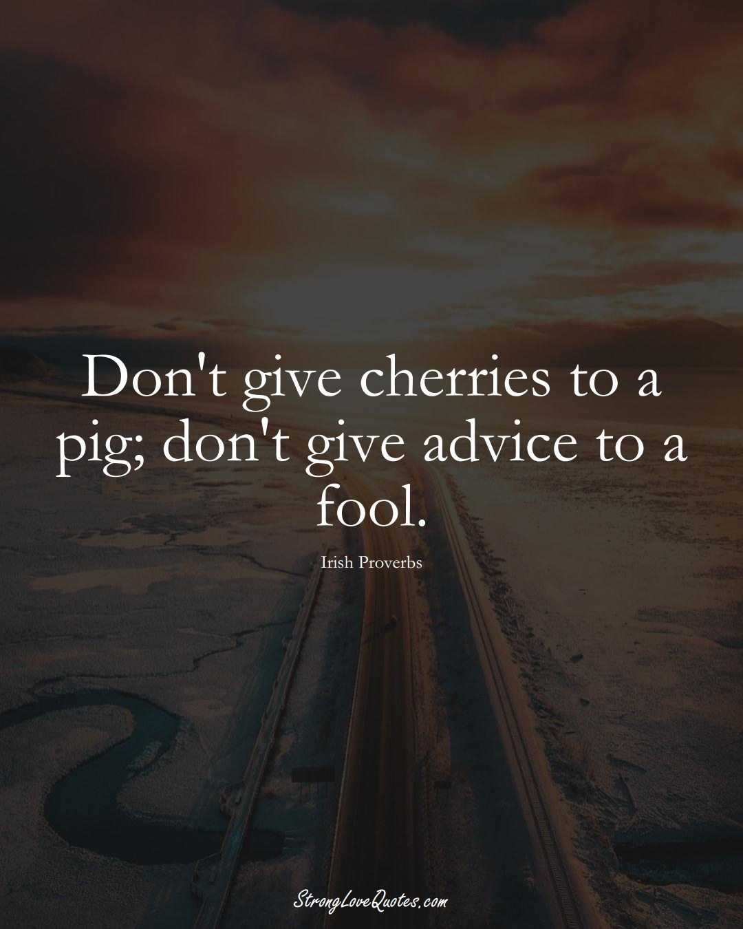 Don't give cherries to a pig; don't give advice to a fool. (Irish Sayings);  #EuropeanSayings
