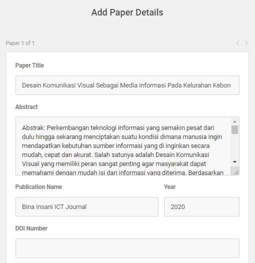 Isi Informasi File Seperti Judul, Abstrak, Penerbit dan Tahun Terbit.