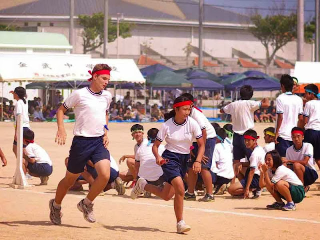 children in relay race