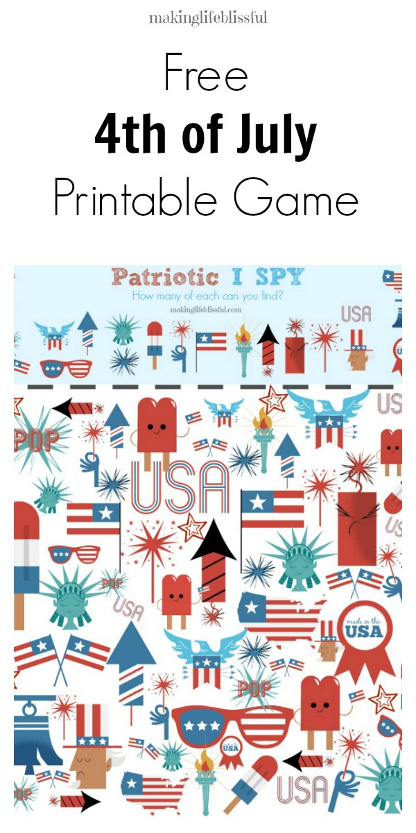 FREE Patriotic I Spy Printable Game Making Life Blissful