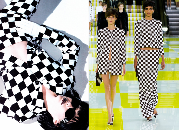 Fashion copycats Gianni Versace suit in Elle US September 1995 VS Louis Vuitton Spring/Summer 2013 via www.fashionedbylove.co.uk