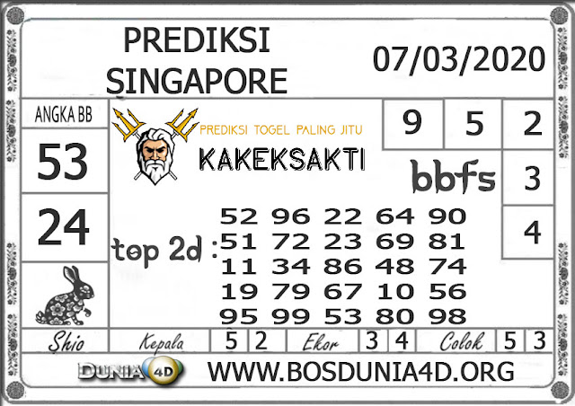 Prediksi Togel SINGAPORE DUNIA4D 07 MARET 2020