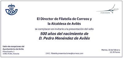 Invitación, presentación, sello, Correos, Pedro Menéndez de Avilés