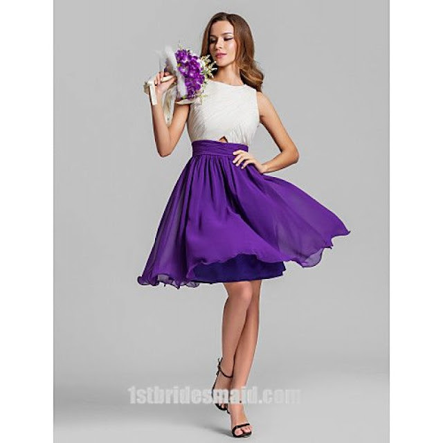 Dazzling Two Color Tones Chiffon Mini White and Purple Bridesmaid Dress