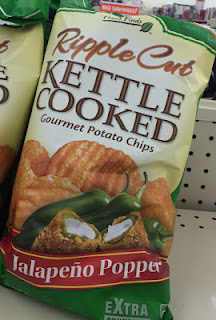A bag of Fresh Finds Jalapeno Popper Kettle Cooked Potato Chips, on a Big Lots shelf