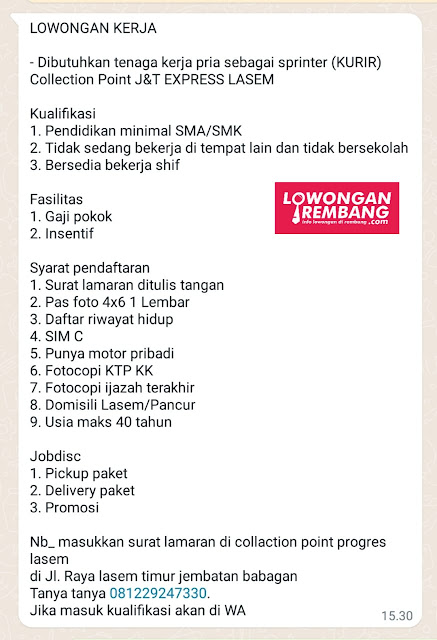 Lowongan Kerja Kurir Collection Point J&T Express Lasem Rembang