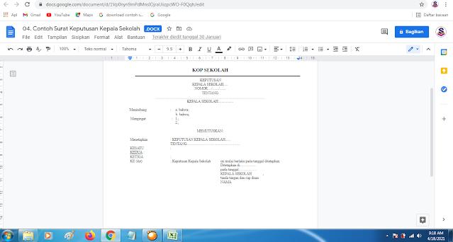 Surat Keputusan Kepala Sekolah