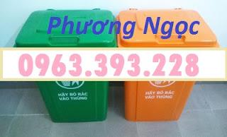 Thùng rác công cộng 90L nắp kín, thùng rác có nắp đậy, thùng rác 90 Lít nhựa HDPE