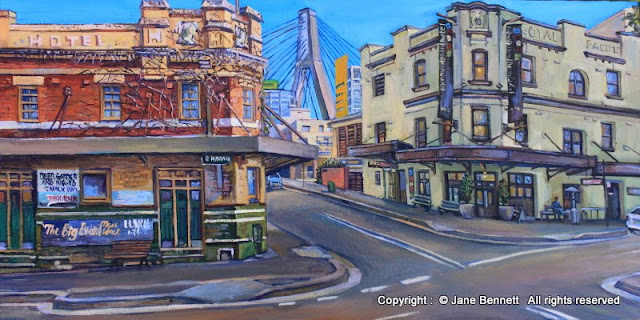 oil painting of  'Terminus Hotel' and  'Pyrmont Point Hotel' Jackson's Landing Pyrmont by artist Jane Bennett
