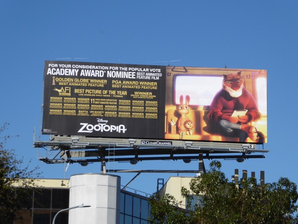 Disney Zootopia Oscar nominee billboard