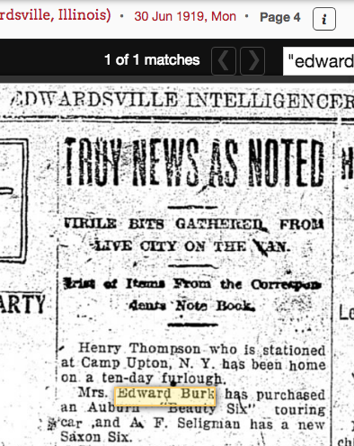 1919 newspaper snippet from Edwardsville Intelligencer, when Anna Burk buys Auburn Beauty-Six