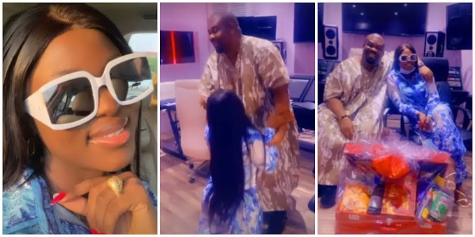 BBN's Ka3na goes on her knees to greet Don Jazzy
