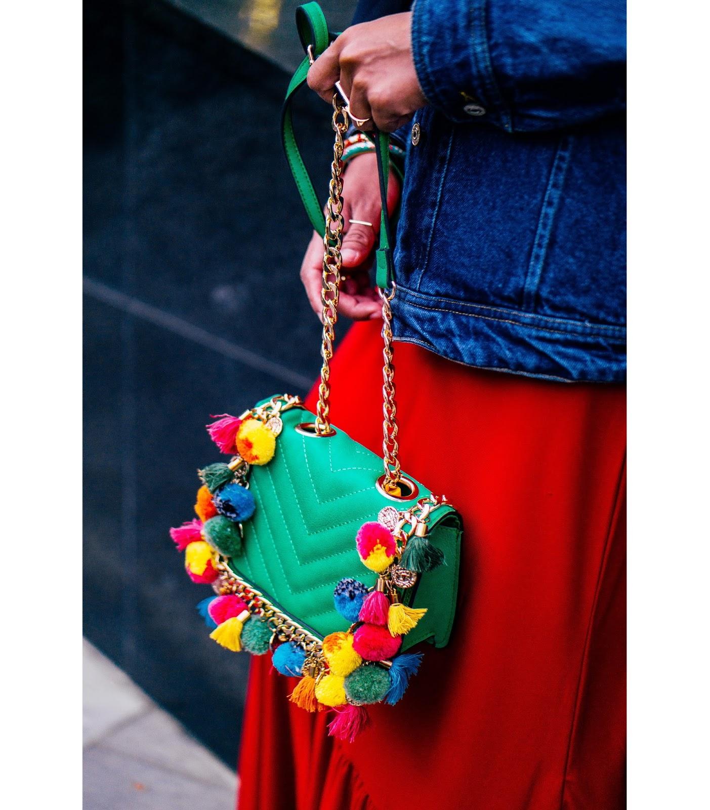 Aldo pom pom chain sling bag