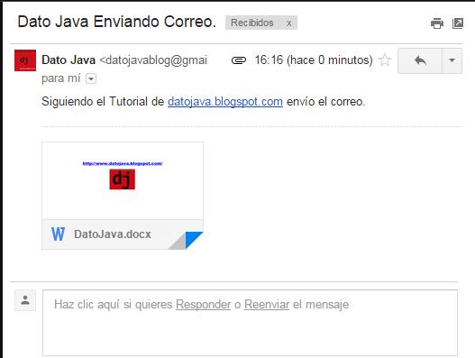 Contenido del correo adjunto JavaMail