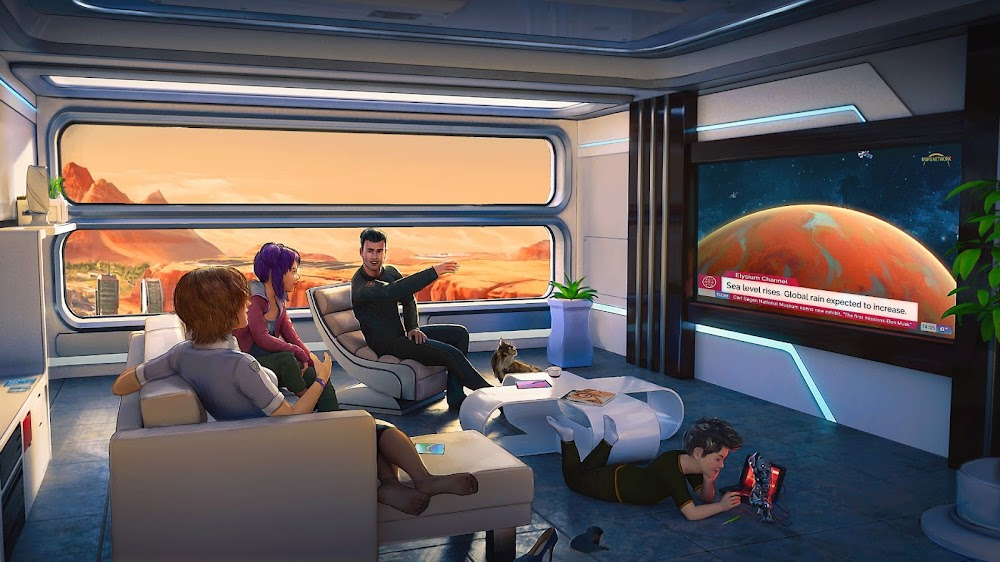 Family watching news on terraformed Mars by Tiago da Silva for Terraformers game