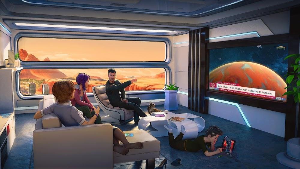Family watching news on terraformed Mars by Tiago da Silva for Terraformers game