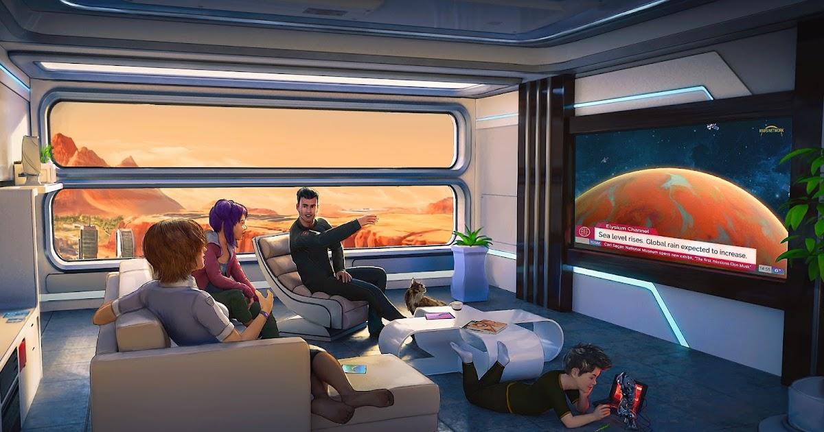 Family watching news on terraformed Mars