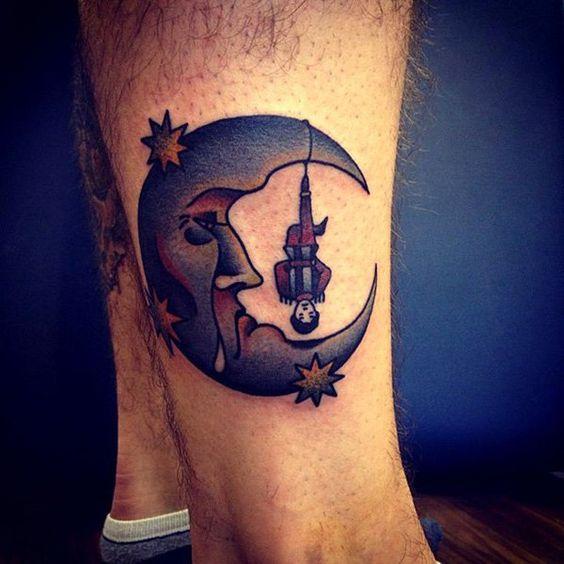 sad moon tattoo on sleeve for men
