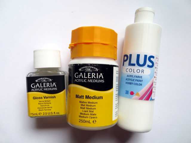 Useful art supplies for making acrylic paintings on canvas: varnish, medium, gesso, transfer paper and metallic paints and why and how to use them.