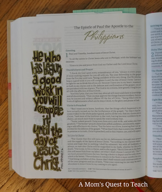 photograph of first page of the book of Philippians