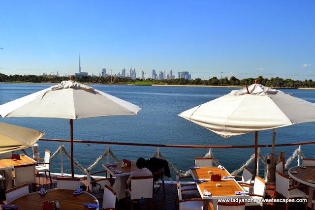 Panoramic view of Dubai skyline from Boardwalk