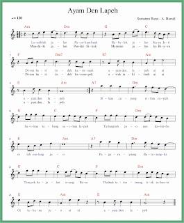 not balok lagu ayam den lapeh lagu daerah sumatera barat
