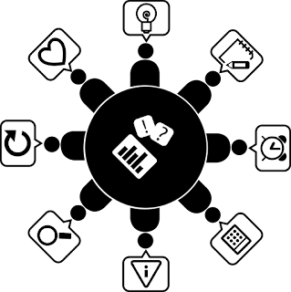 A circle of people icons, each with its own unique speech bubble, also using icons like hearts and light bulbs
