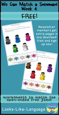 Free worksheets that are a file folder activity, too! Looks-Like-Language