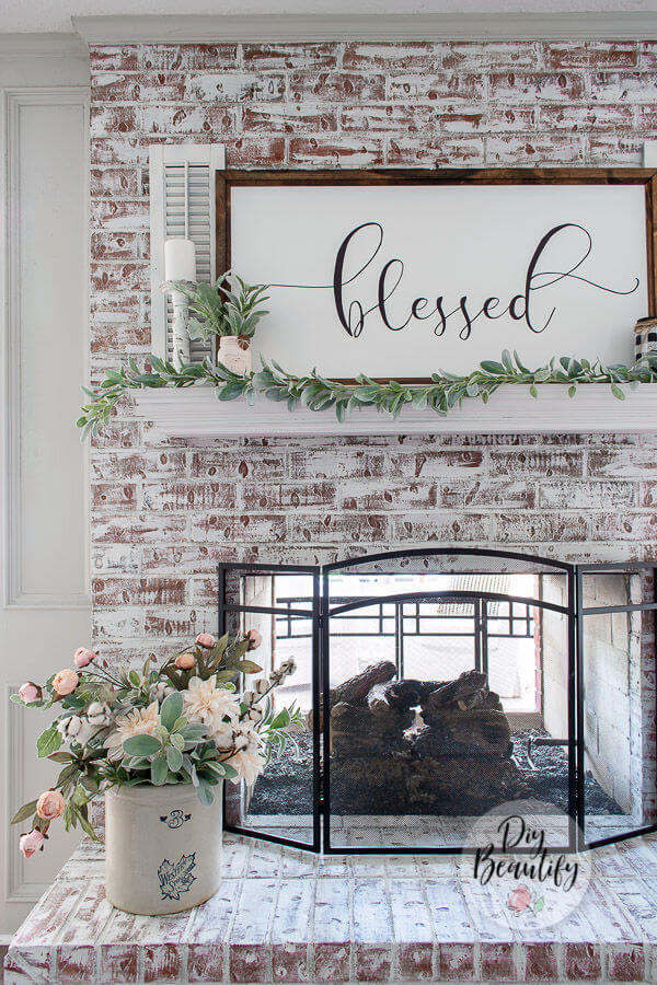whitewashed fireplace