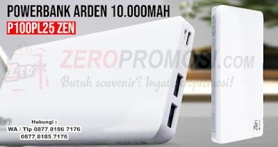 Powerbank ZEN P100PL25, Powerbank Arden 10000mAh P100PL25 untuk souvenir, ARDEN POWERBANK SLIM 10.000mAh - P100PL25