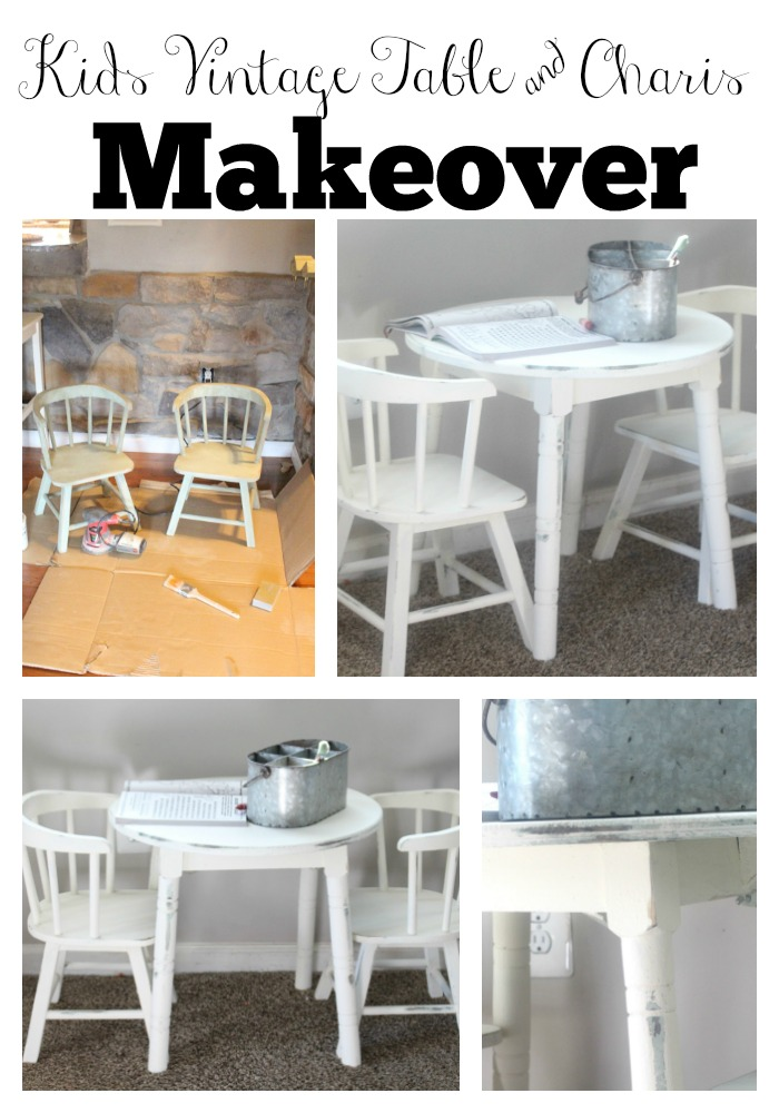 vintage table and chairs swivel office kids makeover with chalk paint the glam old white