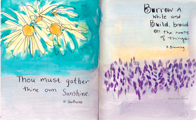 daisies, lavender, art journal, Gallery Juana