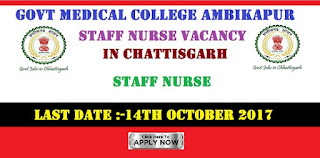 Govt Medical College Ambikapur Staff Nurse Vacancy in Chattisgarh