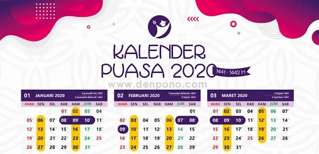 Download Kalender Jadwal Puasa Wajib dan Sunnah 2020 – 1441/1442 Hijriyah
