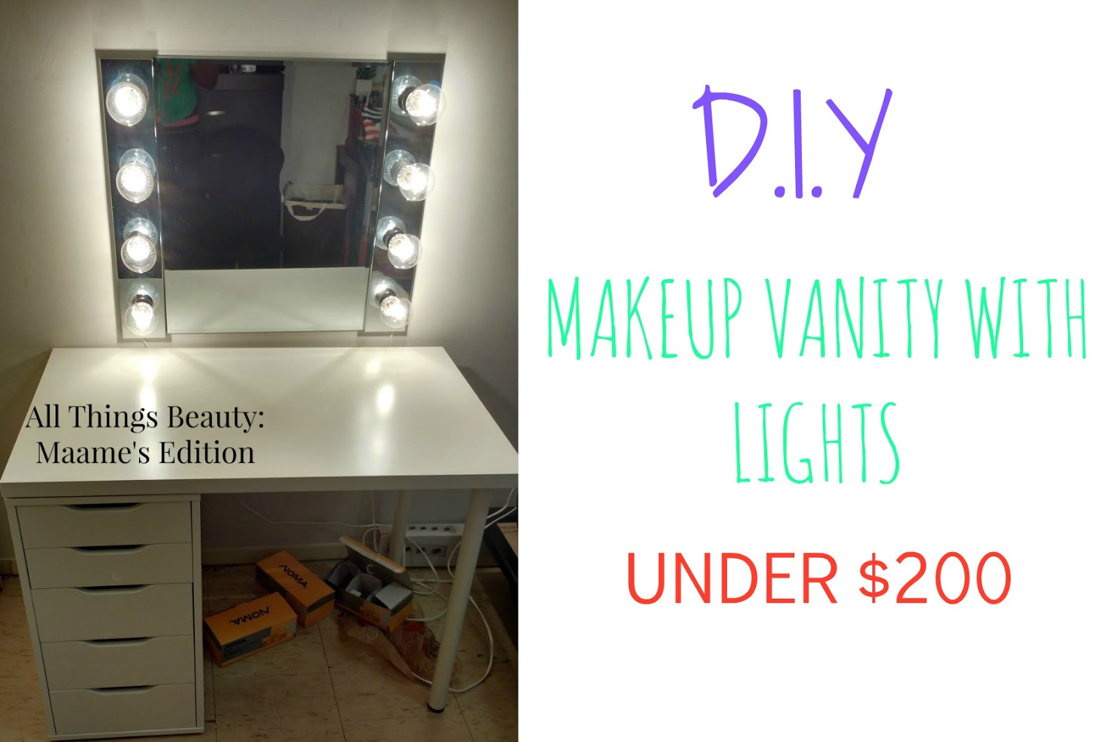 Etonnant MAKEUP STORAGE | DIY MAKEUP VANITY TABLE WITH LIGHTS FOR UNDER $200