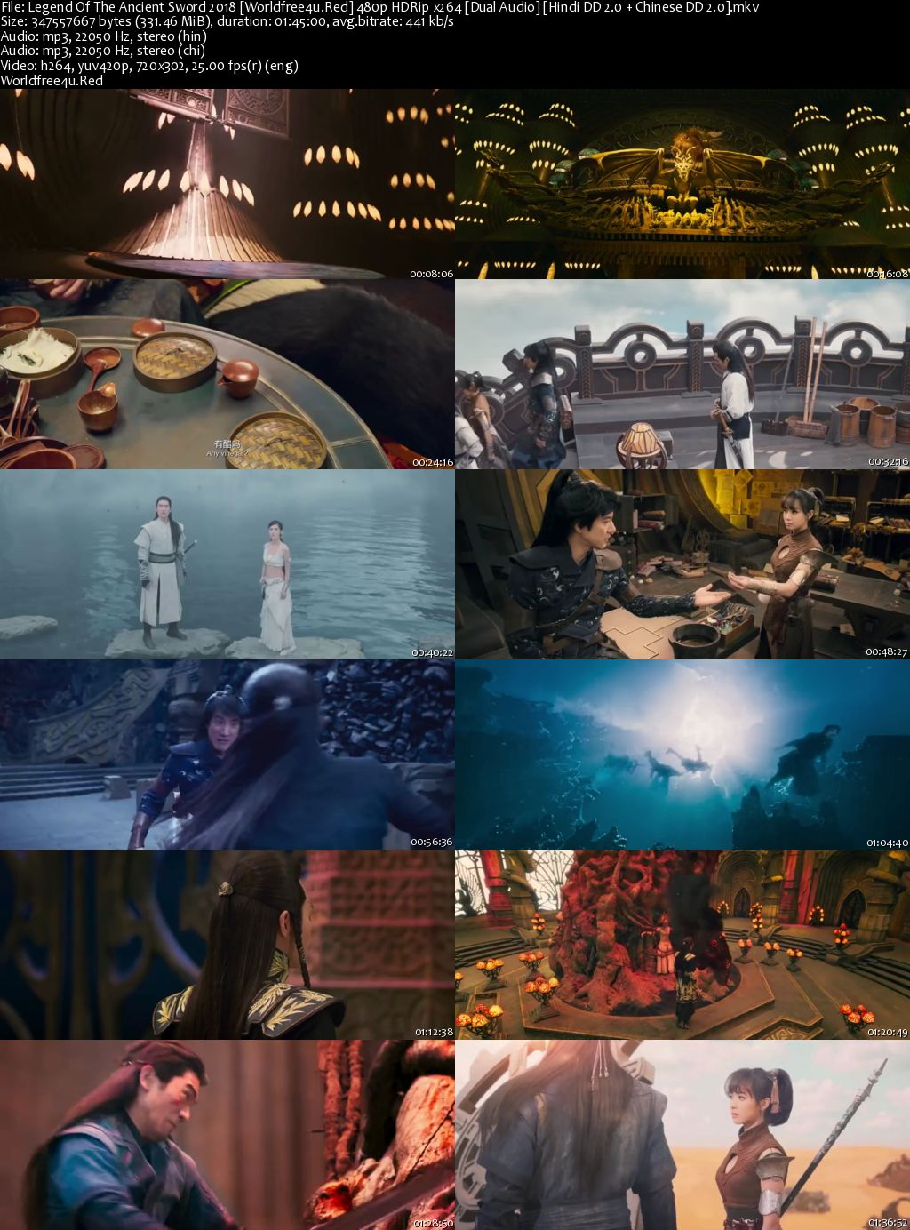 Legend Of The Ancient Sword 2018 HDRip 480p Dual Audio 300Mb