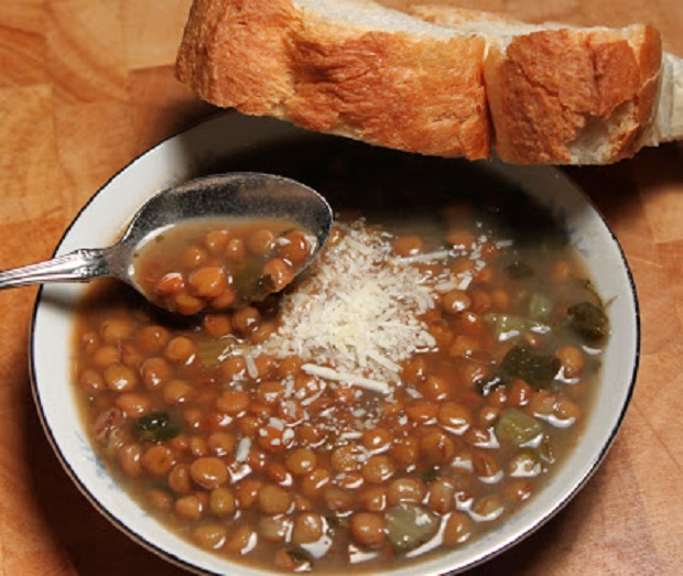 this is a delicious bowl of lentil soup with Italian bread
