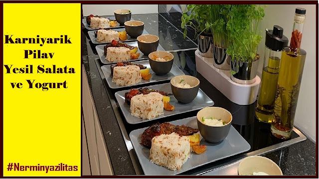 Karniyarik,  Pilav , Yesil Salata ve Yogurt menu, karniyarik,karnıyarık,karniyarik nasil yapilir,karniyarik tarifi,karnıyarık tarifi,yemek tarifleri,firinda karniyarik,karnıyarık nasıl yapılır,karnıyarık yapımı,etli karniyarik,karniyarik maken,nefis karniyarik,pratik,karniyarik recept,yagsiz karniyarik,karnıyarık yemeği tarifi,yemek,nefis yemek tarifleri,karnıyarık yapılışı,karnıyarik içi,tarif,yemek tarifi,fırında karnıyarık,mutfak,patlıcan yemekleri