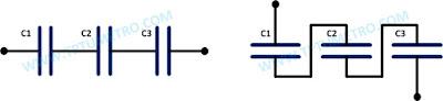 cara menghitung kapasitansi rangkaian kapasitor seri paralel