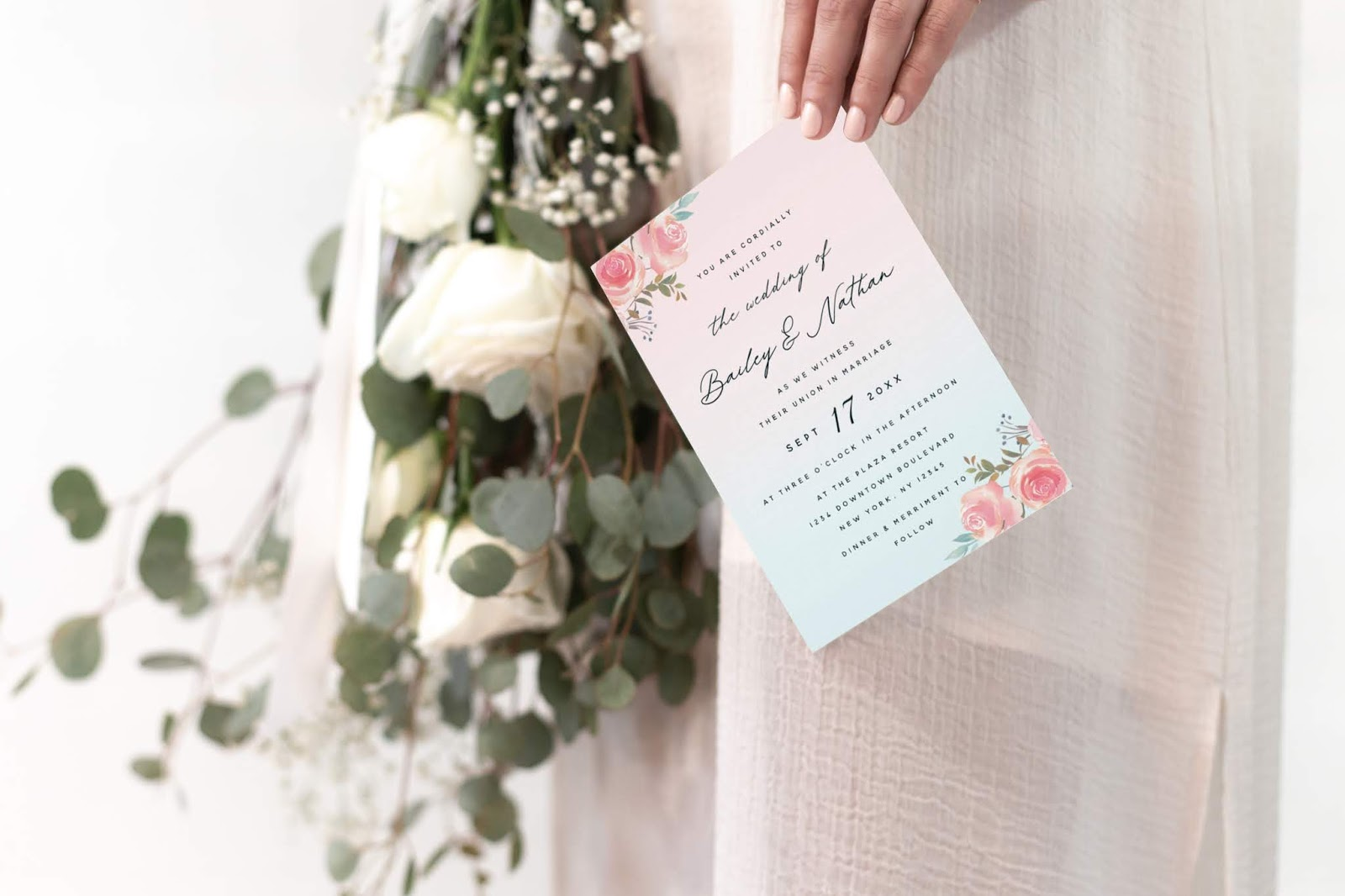 French Garden Wedding Invitation Sample in Use