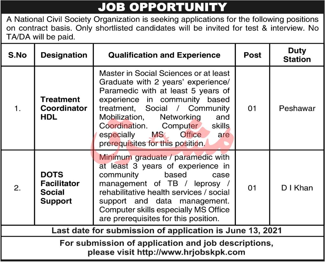 www.hrjobskpk.com Jobs 2021 - National civil Society Organization Jobs 2021 in Pakistan