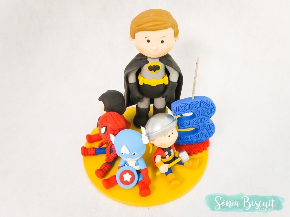 Topo de Bolo, Biscuit, Sonia Biscuit, Lembrancinhas, Herois, Marvel DC, Batman, Mulher Maravilha, Super Homem, Homem de Ferro, Thor, Capitao America