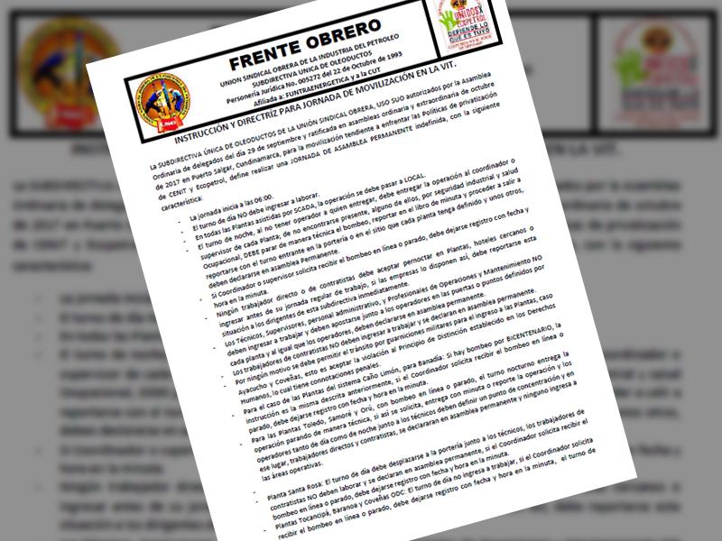 Instrucción y directríz para jornada de movilización en la VIT.