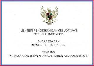 Surat Edaran Pelaksanaan Ujian Nasional Tahun Ajaran 2016/2017