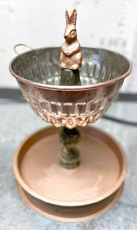 Rose gold tiered tray with bunny finial