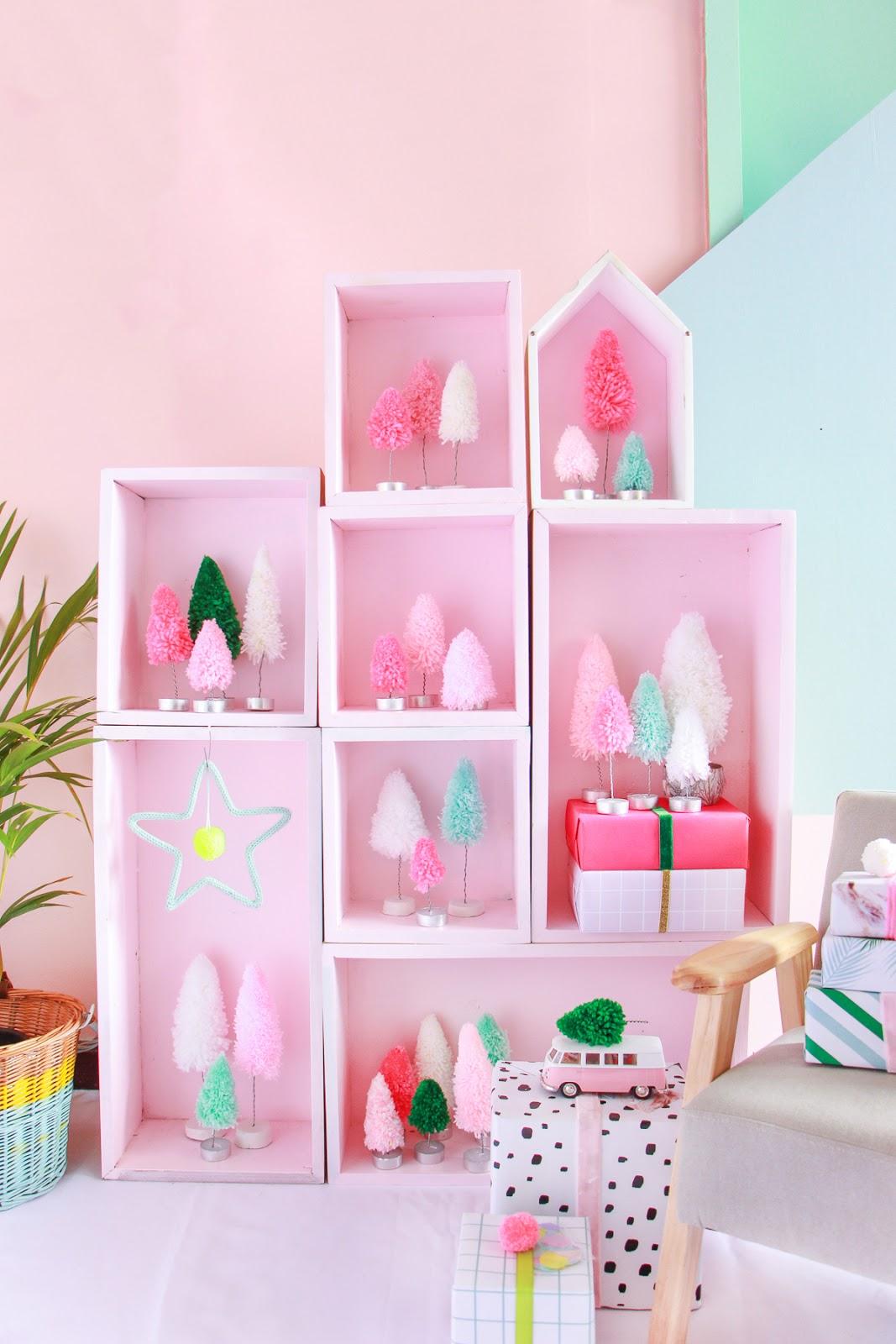 decoração de natal barata artesanal estante de nichos