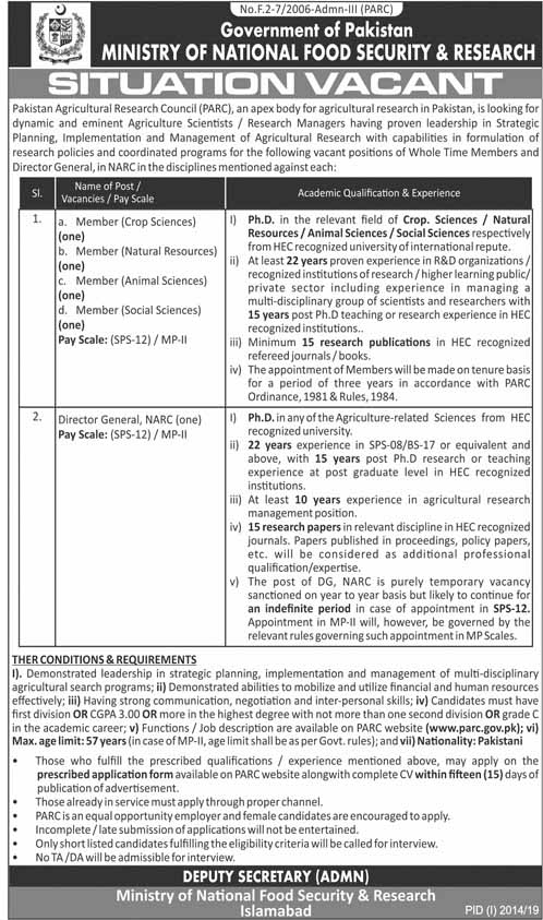 Jobs in Ministry of National Food Security & Research