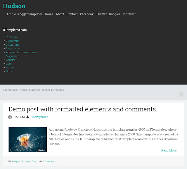 Hudson blogger template adopted from wordpress