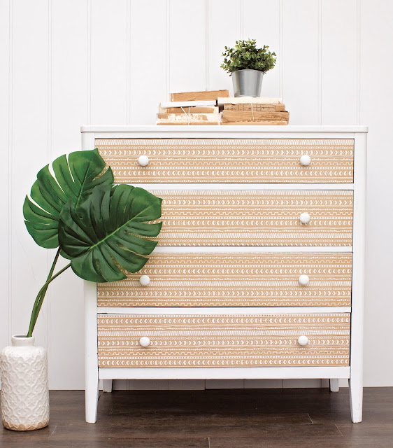 Boho inspired dresser makeover after
